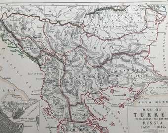 1875 Map of Turkey to illustrate the war with Russia 1807-1812 Original Antique Map - Battle Map - Military History - Available Framed