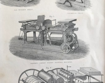 1858 Printing - Old Wooden Press, Columbian Press, Printing Machines Original Antique Engraving - Victorian Technology - Available Framed