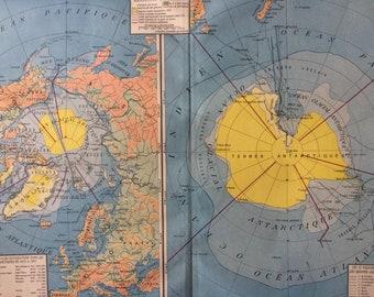 1934 Polar Regions (Arctic & Antarctica) Large Original Vintage Map - Polar Exploration - French Language Vintage Wall Map - Home Decor