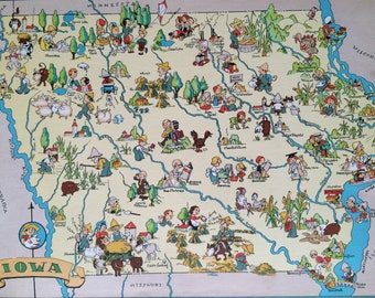 1935 Iowa Original Vintage Cartoon Map - Ruth Taylor - Mounted and Matted - Whimsical Map - United States
