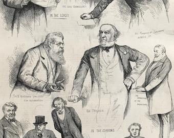1883 The Suez Canal Question in Parliament Original Antique Engraving - Parliament - Politics - Egypt