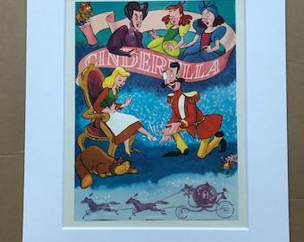 1950s Cinderella Original Vintage Disney Print - Retro Decor - Walt Disney - Mounted and Matted - Available Framed
