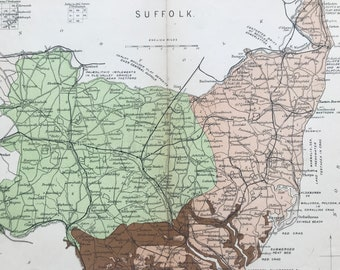 1913 Suffolk Original Antique Small Geological Map - UK County Map - Geology - Available Framed