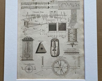 1806 Chimes, Chromatics, Circumferentor, Crowth, Chinnor Original Antique Engraving - Encyclopaedia - Mounted and Matted - Available Framed