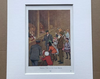 1919 Feeding Lions Original Vintage Margaret W. Tarrant Illustration - Zoo - Animal Art - Available Framed - Nursery Decor - Children's Book