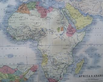 1859 AFRICA Original Antique Map, 10.5 x 13.5 inches, historical wall decor, A K Johnson Atlas, Home Decor, Cartography, Geography