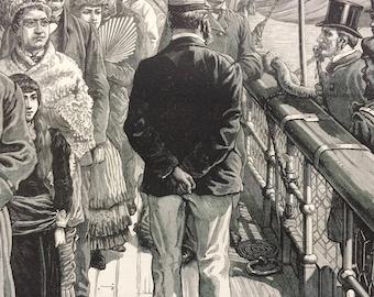 1883 Original Antique Engraving - The Cholera in Egypt: Quarantine Examination at Brindisi - Victorian Decor - Egyptian History