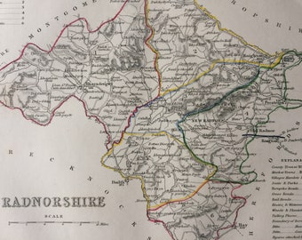 1848 Radnorshire Original Antique Hand-Coloured Engraved Map - Welsh County Map - Available Framed - Cartography - Wall Decor - Wales