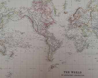 1898 Extra Large Original Antique World A & C Black Map on Mercator's Projection - Vintage World Wall map - Wall Decor - Gift Idea