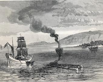 1877 Rustchuk, on the Danube Original Antique Engraving - Russo-Turkish war - Ruse, Bulgaria - Military Decor - Danube River