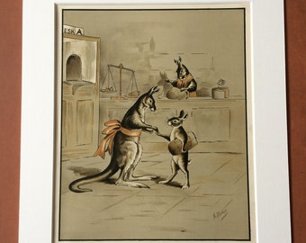 1912 Kangaroo Large Original Antique Illustration - Mounted and Matted - Nursery Decor - Story Illustration - Vintage Cartoon