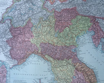 1920 ITALY (North) Original Vintage Map, 12 x 14.5 inches, historical wall decor, Stanford Atlas, Home Decor, Cartography, Geography