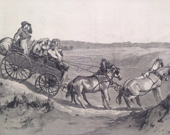 1877 Prairie Travelling - American Sketches Original Antique Engraving, United States, Horse and Carriage, US History, Decorative Art