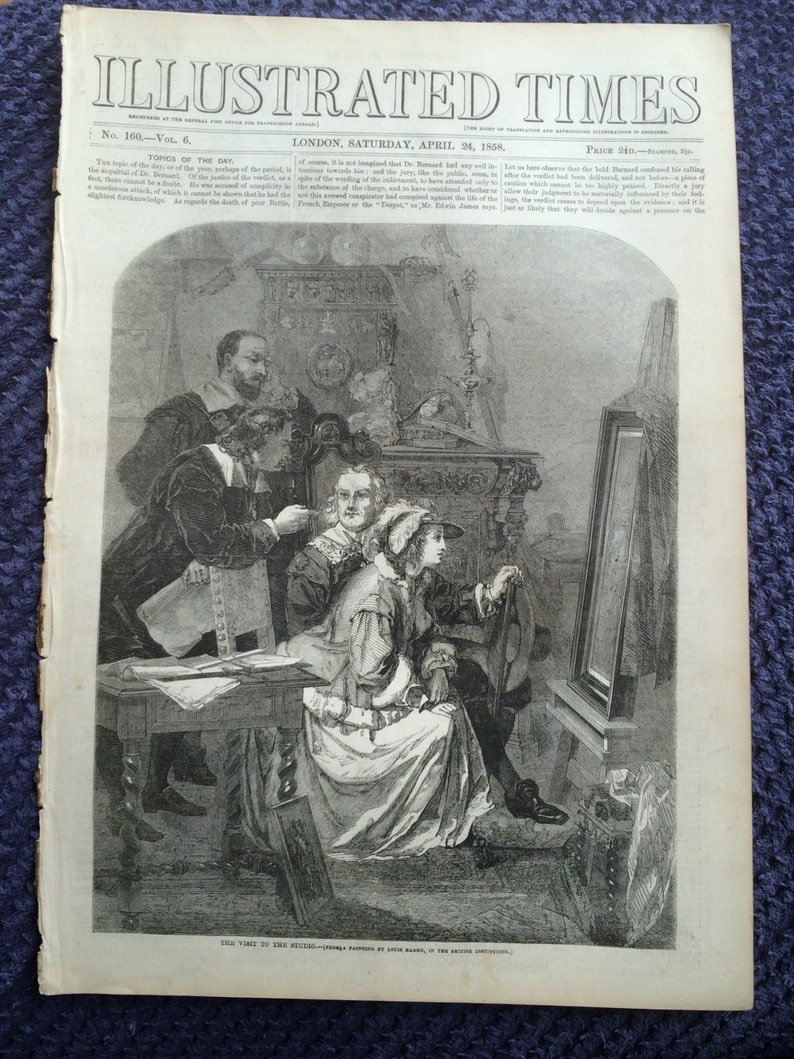 Victorian Art illustrated times 1858 The Visit to the Studio from a painting by Louis Haghe Original Antique Engraving Wall Decor