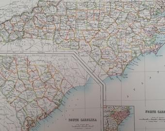 1898 North Carolina and South Carolina Large Original Antique A & C Black Map - United States - Victorian Wall Decor - Wedding Gift Idea