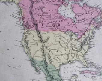 1869 North America Rare Original Antique Map, 11 x 13.5 inches, historical wall decor, Cornell Atlas, Home Decor, Cartography, Geography
