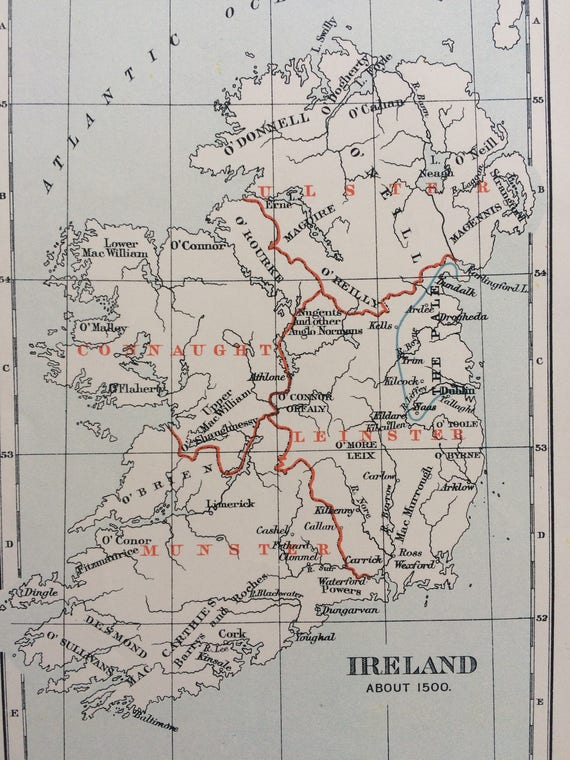 1910 Ireland In 1500 Showing Clans And Families Original Etsy