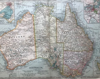 1903 Australia Original Antique Map with inset maps of Melbourne and Port Philip and Sydney and Vicinity - showing submarine telegraphs