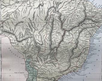 1876 Brazil, Uruguay, Paraguay and Guayana Large Original Antique A & C Black Map - South America