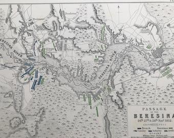 1875 Passage of the Beresina, 1812 Original Antique Map - Berezina - Napoleonic Wars - Battle Map - Military History - Available Framed