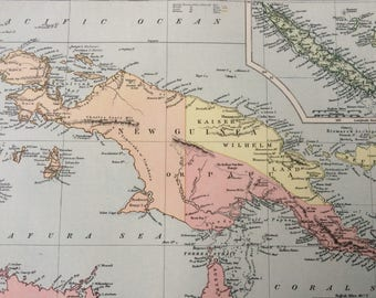 1875 NEW GUINEA & New Caledonia, Papua New Guinea, Indonesia, Cartography, Decorative Wall Art - Available Framed