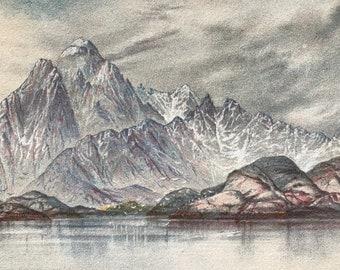 1893 Vaagekallen - Lafoten Islands - Work of Weather and Glacier Original Antique Print - Norway - Vintage Wall Decor - Available Framed