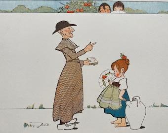 1898 Children of Spain - 'A Wayside Lesson' Original Antique Edith Farmiloe Illustration - Nursery Decor - Available Framed