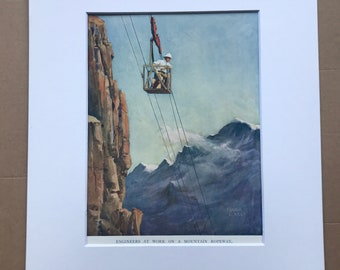 1928 Engineers at work on a Mountain Ropeway Original Vintage Print - Engineering - Mounted and Matted - Available Framed