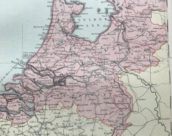 1904 Holland Original Antique Map, 10.5 x 7 inches - Vintage Wall Decor - Netherlands - Belgium