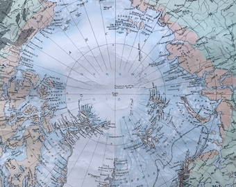 1901 North Polar Chart Original Antique Map - North Pole - Arctic - Arctic Ocean - Mounted and Matted - Available Framed