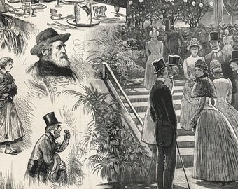 1883 Sketches at the closing of the Fisheries Exhibition Original Antique Engraving - Victorian Decor