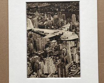 1940s Pan-American Clipper flying over Manhattan Original Vintage Print - Aircraft - New York City - Mounted and Matted - Available Framed