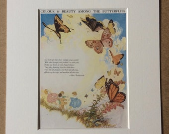 1940s Butterfly Poem by Mrs Barbauld Original Vintage Print - Mounted and Matted - Vintage Insect Art - Illustrated Poem - Available Framed