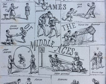 1880 Old Games of the Middle Ages Original Antique Engraving - matted & available framed - Wrestling - hoop Jumping - Bob Apple - Bowling