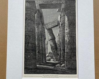 1880 The Leaning Column, Karnak Original Antique Engraving - Egypt - Mounted and Matted - Available Framed