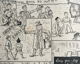 1887 Christmas Cartoon Advert original antique print, Available Framed, 11 x 14 inches