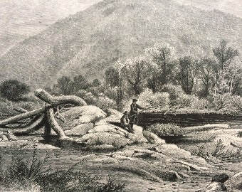 1874 Mount Chesterfield, Vermont Original Antique Wood Engraving - Mounted and Matted - Fishing Scene - United States - Available Framed