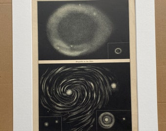 1888 Original Antique Lithograph - Nebulae - Nebula - Zodiac - Celestial Art - Astronomy - Astrology - Victorian Wall Decor