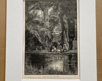 1880 Under the Palms, Ayun Musa, Sinai Original Antique Engraving - Egypt - Mounted and Matted - Available Framed