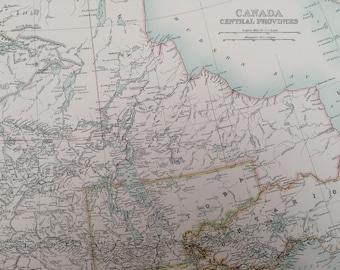 1898 Canada Central Provinces Large Original Antique A & C Black Map - Assiniboia, Manitoba - Victorian Wall Decor - Wedding Gift Idea