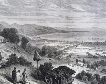 1877 Soukhoum Kaleh, Russian Fort on the Black Sea Original Antique Engraving, Illustrated London News, 19th Century History