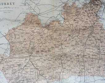 1868 SURREY original antique map, english county, cartography, geography, wall decor, gift idea, victorian Decor, 13 x 10.5 Inches