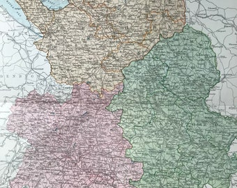 1875 Shropshire, Staffordshire and Cheshire Original Antique Map showing Parliamentary Divisions - UK County - England