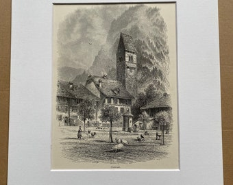 1876 Unterseen Original Antique Engraving - Switzerland - Mounted and Matted - Available Framed