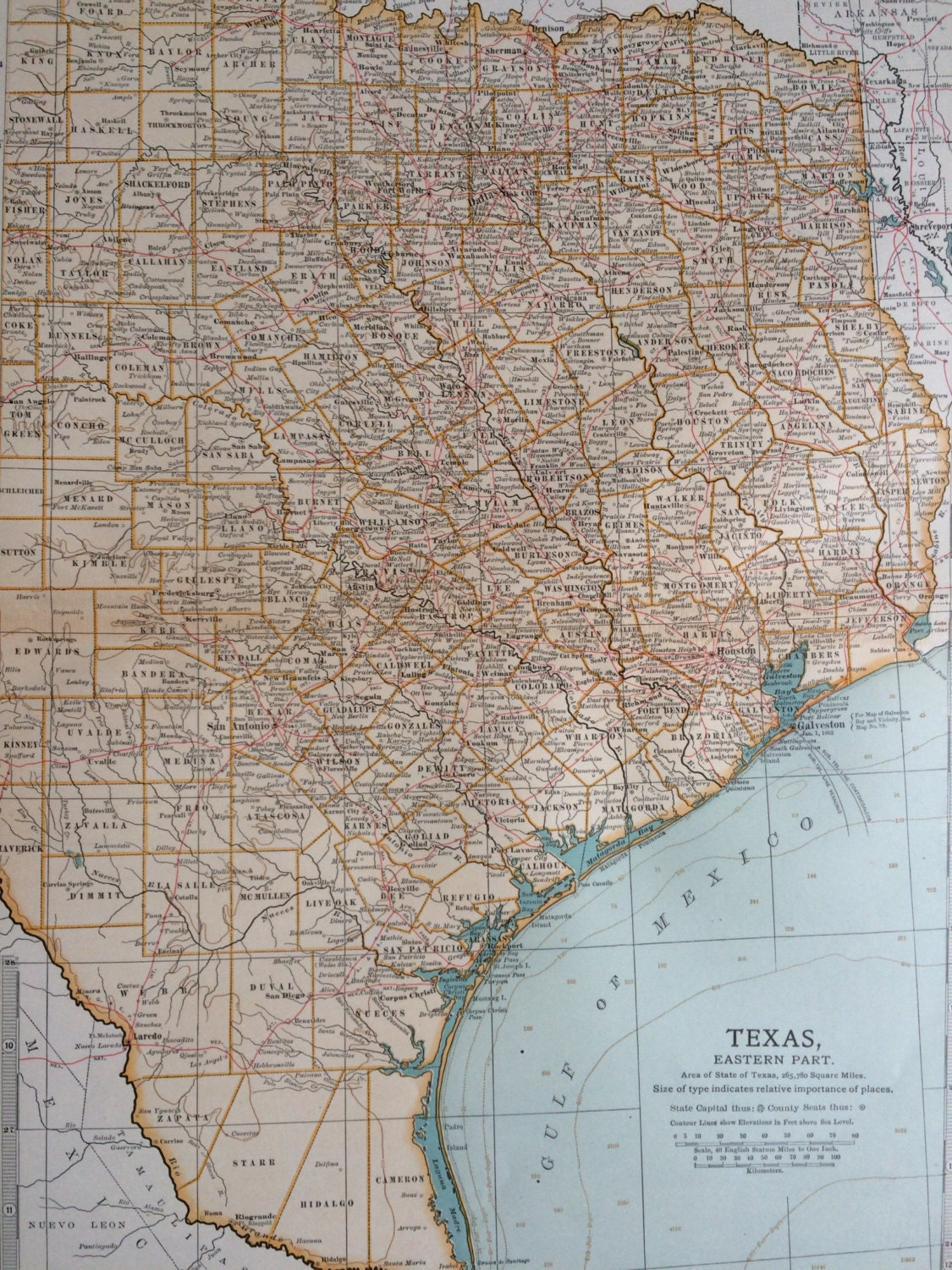 Detail Map Of Texas.1903 East Texas Original Large Antique Map Us State Map Tx