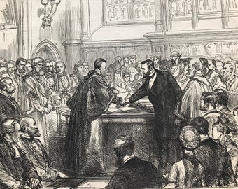 1877 Presenting the Freedom of the City of London to General U.S. Grant at Guildhall Original Antique Print - Available Framed