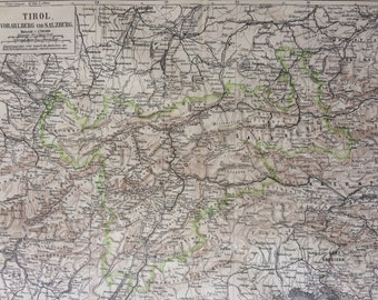 1878 Tirol (Vorarlberg and Salzburg) Large Original Antique Map - Available Mounted and Matted - Austria - Victorian Decor