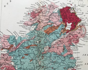 1913 Northern Ireland Original Antique Small Geological Map - UK County Map - Geology - Available Framed