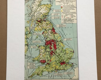1930s Great Britain - Commercial Development Original Vintage Map - Mounted and Matted - Available Framed