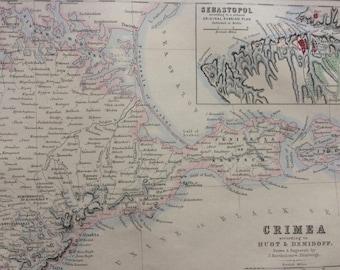1871 Crimea according to Huot & Demidoff Original Antique Map with inset map of Sebastopol - Ukraine - Russia - Historical Wall Decor